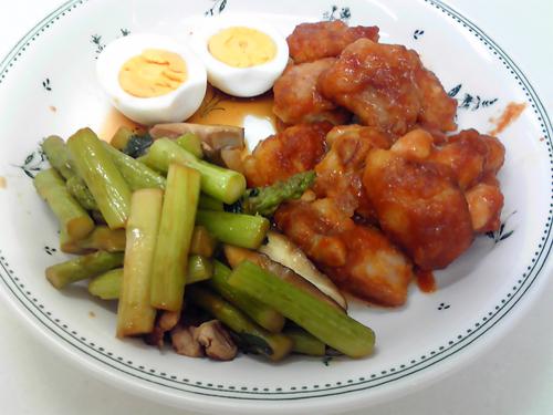 鶏肉のコチジャン煮、アスパラしいたけ.jpg